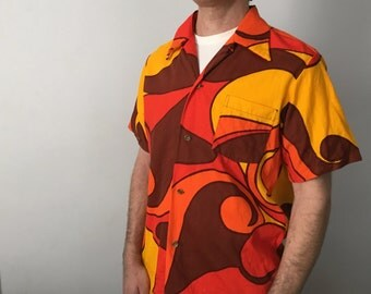70s Psychedelic Barkcloth Hawaiian Shirt