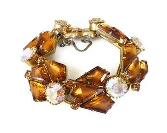 Juliana Bracelet, Delizza and Elster, Smokey Topaz, Aurora Borealis, Kite Rhinestone, Five Ring, D & E, Vintage Jewelry