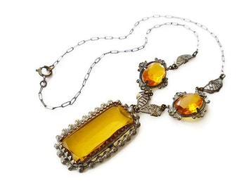 Art Deco Necklace, Amber Glass, Gold Tone, Filigree Fancy, Dangle Drop, Antique Jewelry