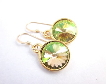 Green Gold Drop Earrings -- Gold & Light Green Earrings -- Light Green Crystal Dangles -- Shiny Green Earrings -- Luminous Green Earrings
