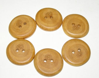 "6 Handmade  apple wood buttons, accessories (1,26"" diameter x 0,24"" thick)"