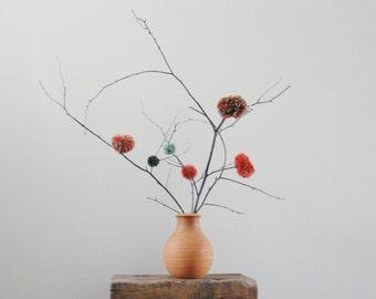 Pom Pom Flowers - Rustic Centerpiece - Country Wedding Decor - Minimalist Decor - Simple - Rust and Green - Fiber Flowers - Natural Twigs