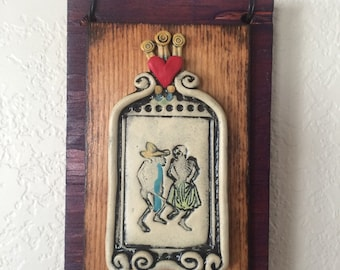 Day of Dead,Amor, wall hanging amor, skeleton plaque, Day of Dead art