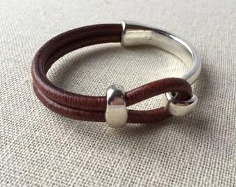 Thick leather cord bangle, brown leather bracelet, antique silver clasp, everyday bracelet, unisex bracelet, boho chic, graduation gift