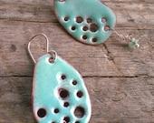 Swimming Hole- Turquoise Enamel Earrings with Genuine Tourmaline