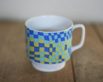 vintage 60's coffee cup psychedelic blue and green pattern
