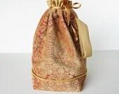 Luxury drawstring bag, large knitting bag, Reserved for Mori