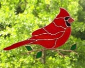 Cardinal - Stained Glass Bird Suncatcher - Large 072516