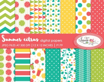 Digital paper, summer citrus digital papers, digital scrapbook papers, patterned scrapbook papers, commercial use papers, P179