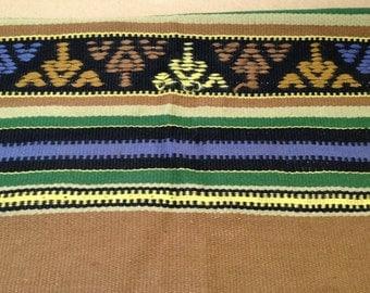 "Brown Wool Handwoven Runner 21 x 48"" Indian Design"