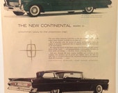 Circa 1958 The New Continetal Mark III ad. 13x10. Great for framing.