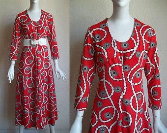 Vintage 70s Hippie Mod Empire Waist Polyester Knit Maxi Dress S M B35