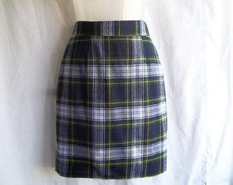 Vintage 80s School Girl Watchman Plaid High Waist Wiggle Skirt S W26 H36