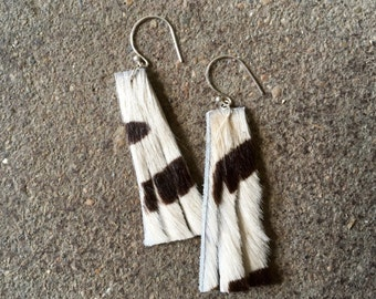 Hair-on Leather Earrings with Sterling Silver Hardware