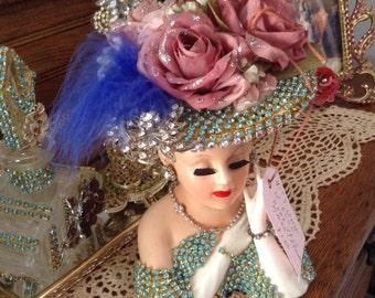 Jeweled lady head vase in blue and clear rhinestone jewels Lefton 2705