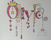 Baby Name Art . Name and Birthdate . Hand Painted Watercolor . Nursery Decor . Children's Personalized Art . Princess Theme
