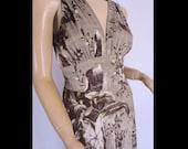 Designer DVF Dress Diane Von Furstenberg Silk Satin Plunging Dress Rolo sz 8