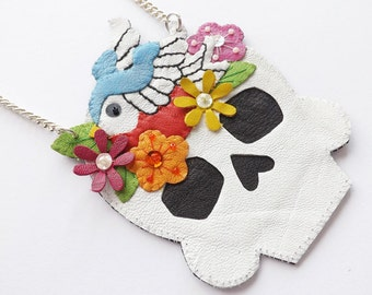 Sugar Skull Jewelry Leather Necklace Swallow Necklace Skull Pendant Tattoo Jewelry