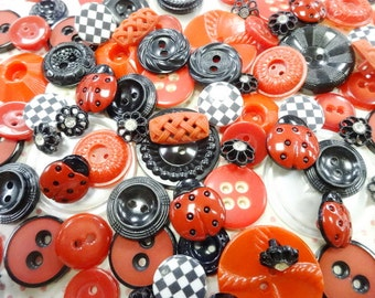 Vintage Sewing Buttons Mix Lot Collection Ladybug Happy Dance Theme Seamstress Scrapbooking Embellishment