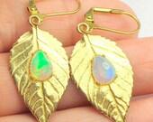 Gold Leaf Earrings, Welo Opal Earrings, Gold Plated Sterling Silver, Dangling Charms