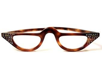 Half Frame Tortoise Shell Reading Glasses : Bakelite eyeglasses Etsy
