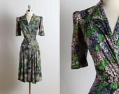 Vintage 40s dress | vintage 1940s dress | lilac print dress m/l | 5714