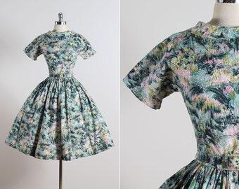 Muted Forest . vintage 1950s dress . vintage cotton dress . 5619