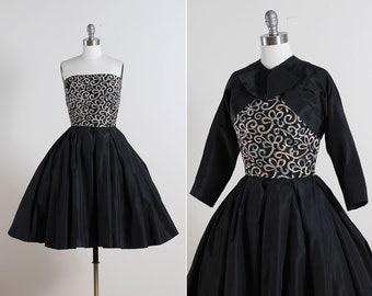 Paul Sachs . vintage 1950s dress . vintage cocktail dress & bolero . 5563