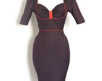 Navy and Red Wool Bustier Pencil Dress - Made by Dig For Victory