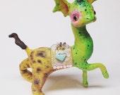 Ooak Spun Cotton, Art Figure, Fantasy Art Figure, Mythical Creature, Water Horse, Dragon, Lion, Cheetah, Art Doll