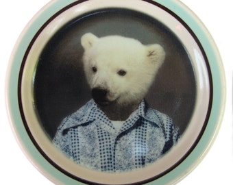 Pete the Polar Bear - Altered vintage plate 5.5""