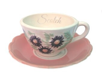 Sale - Imperfect - Scotch Altered Vintage Teacup and Saucer