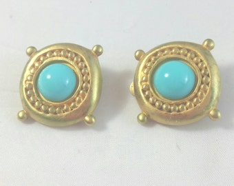 Romanesque Gold Metal Clip Earrings Center Turquoise Stone Unsigned