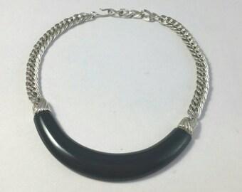 Gorgeous Black Lucite Choker Necklace Signed Monet