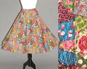 50s Circle Skirt, 1950s Skirt, Quilted Novelty Print Full Swing Rockabilly Skirt
