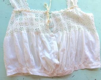 Edwardian Camisole, Antique Cotton Lace Top, White Bohemian Top