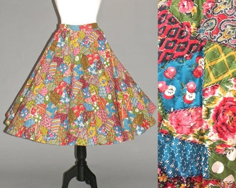 50s Circle Skirt, 1950s Skirt, Quilted Novelty Print Full Swing Rockabilly Skirt