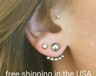 Earring jackets free shipping sterling silver Swarovski pearl post stud
