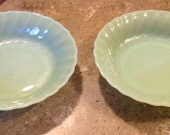 "Fire King Jadeite Shell Swirl Glass Flat Coupe Soup Bowl 2 Piece Set 7 5/8"""