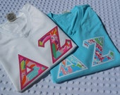 Comfort Colors Short Sleeve V Neck..    Appliqued Greek Letter Shirt with Lilly Fabric