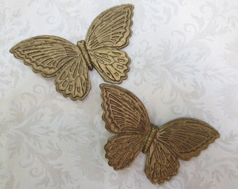 Pair Gold Plastic Homco Butterflies, 1970s Vintage Wall Décor