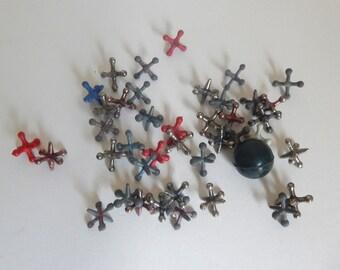 Mid Century Ball & Jacks Toy - 40 Jacks