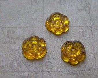Glass Cabochons - Flower Cabochon - Glass Flower Finding - Flat Back Cabochon - Vintage Glass -  Glass Cabs - Unique Jewelry Findings
