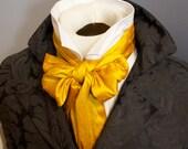 Saffron Gold Dupioni Silk 6 inch width REGENCY Brummel Victorian Ascot Tie Cravat