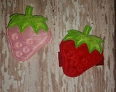 STRAWBERRY Baby Snap Clip - You Choose ONE - Pink or Red Hair Clip