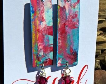 Batik look red dangle handpainted earrings with swarovski