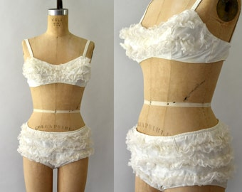 1950s Vintage Bikini - 50s Cole of California Ruffled Lace Bikini