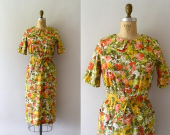 Vintage 1950s Dress - 50s Yellow Floral Cotton Wiggle Dress