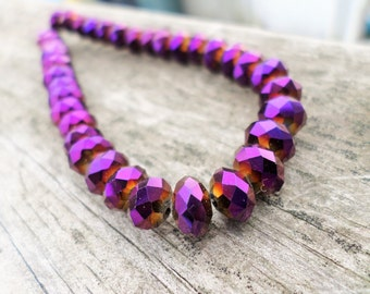 Metallic Purple(Opaque) Faceted Crystal Rondelle Beads 8x5mm