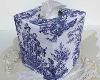 Navy toile reversible tissue box cover